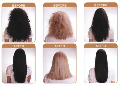 hair smoothening before & after