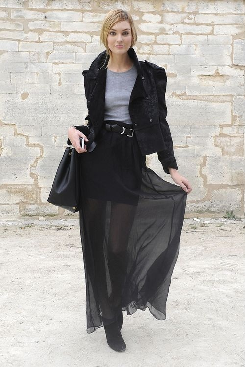ankle boots maxi skirt