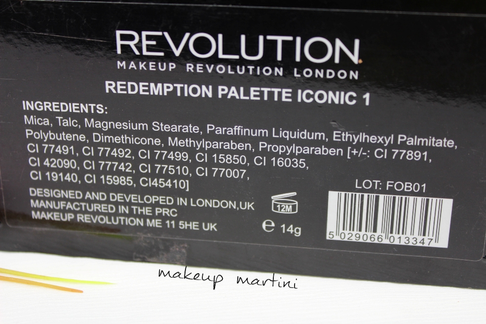 Makeup Revolution Iconic Palette Ingredients