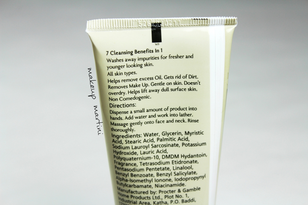 Olay Total Effects Foaming Cleanser Ingredients