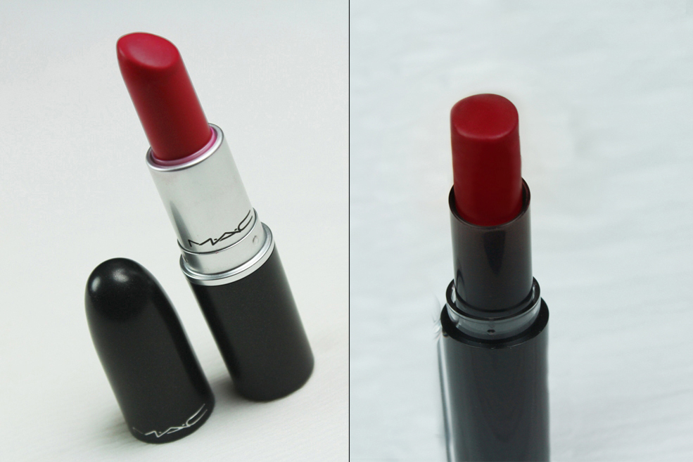 MAC Ruby Woo Lipstick Dupe- Wet N Wild Stoplight Red