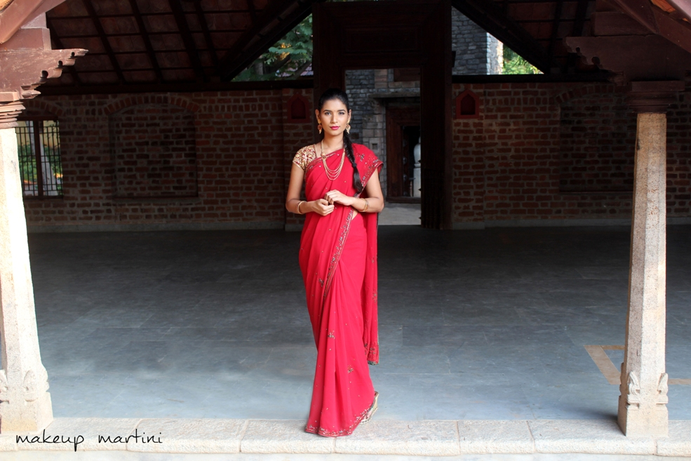 Simple Traditional Indian Red Saree