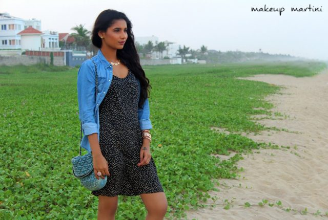 Style Polka Dot Dress and Denim Shirt