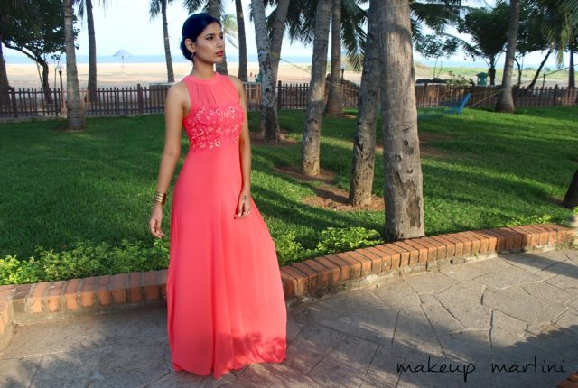 Coral Flowy Maxi Dress OOTD