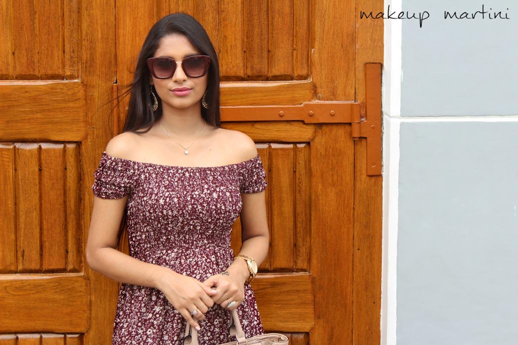 Floral Burgundy Off Shoulder Maxi Dress OOTD