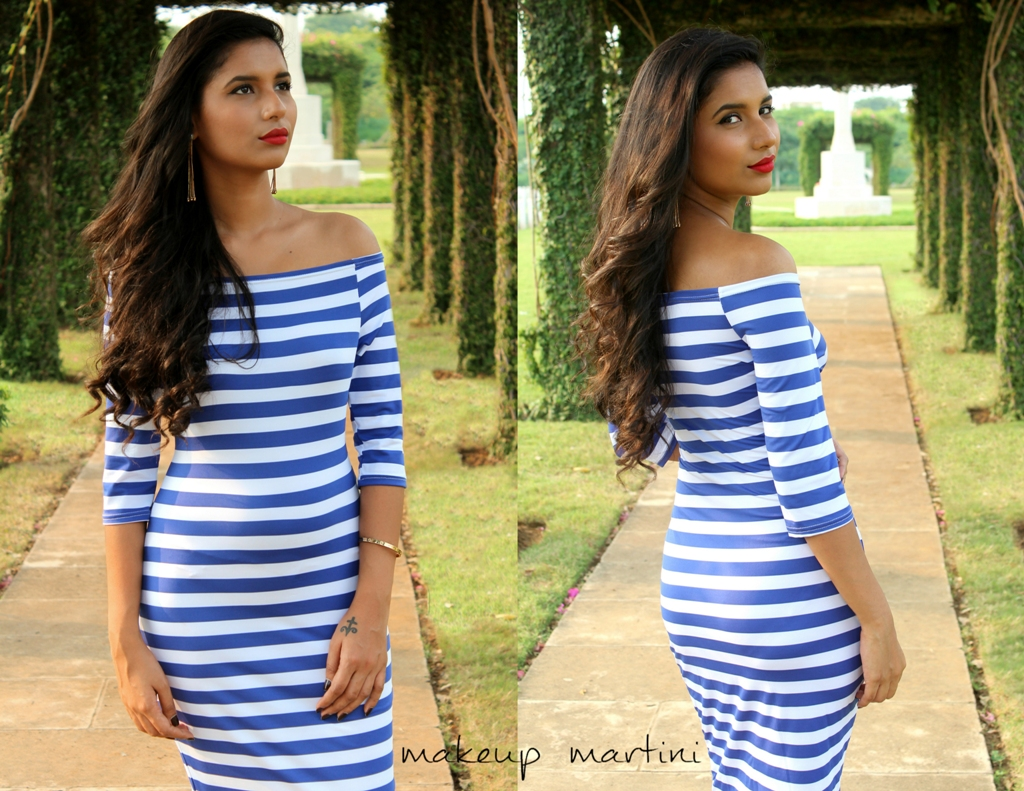Striped Bardot Bodycon Dress OOTD