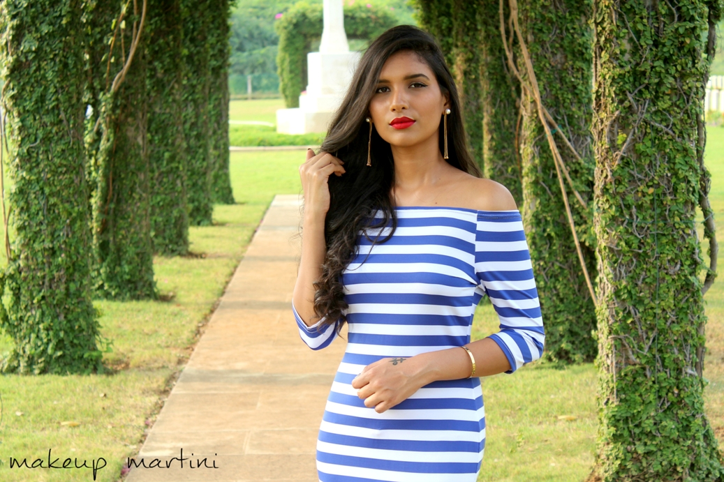 Striped Off Shoulder-Bodycon Dress OOTD