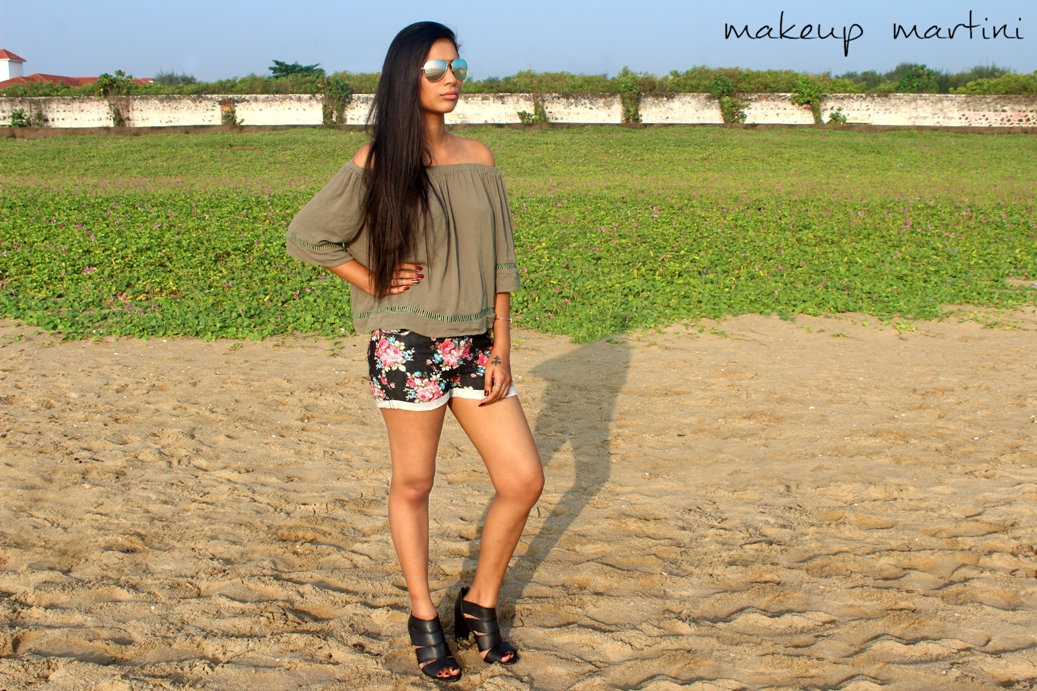 Off Shoulder Top and Floral Shorts For Summer