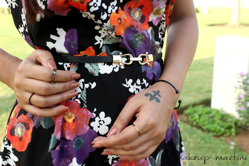 Styling Black Floral Skater Dress OOTD