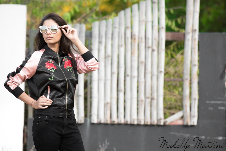 Styling Rose Gold Black Bomber Jacket