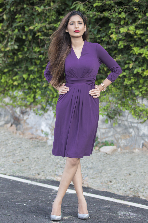 Purple Sheath Midi Dress