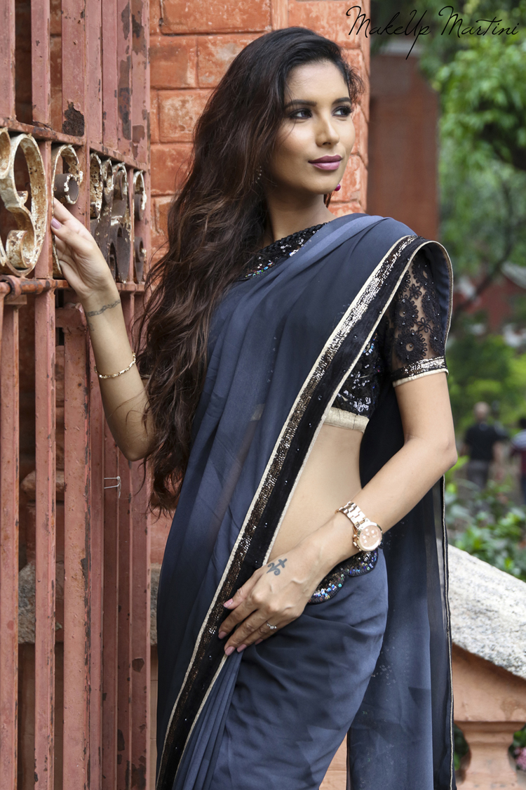 Styling Grey Saree