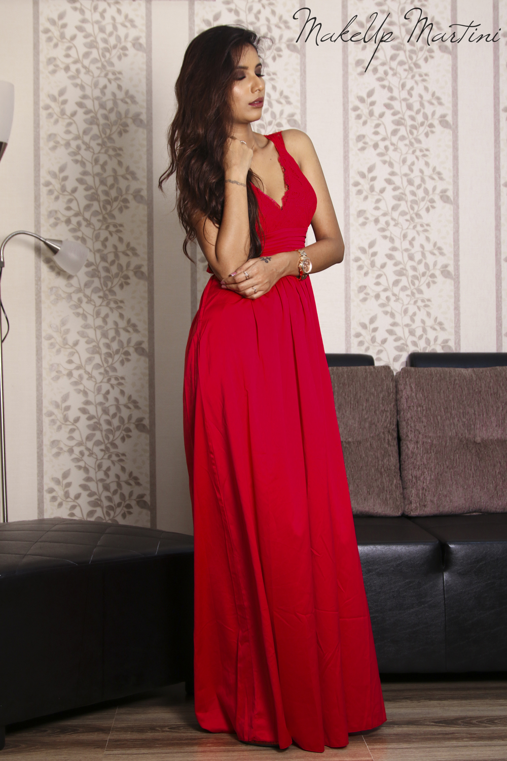New Year Glam & Flirty Red Maxi Dress