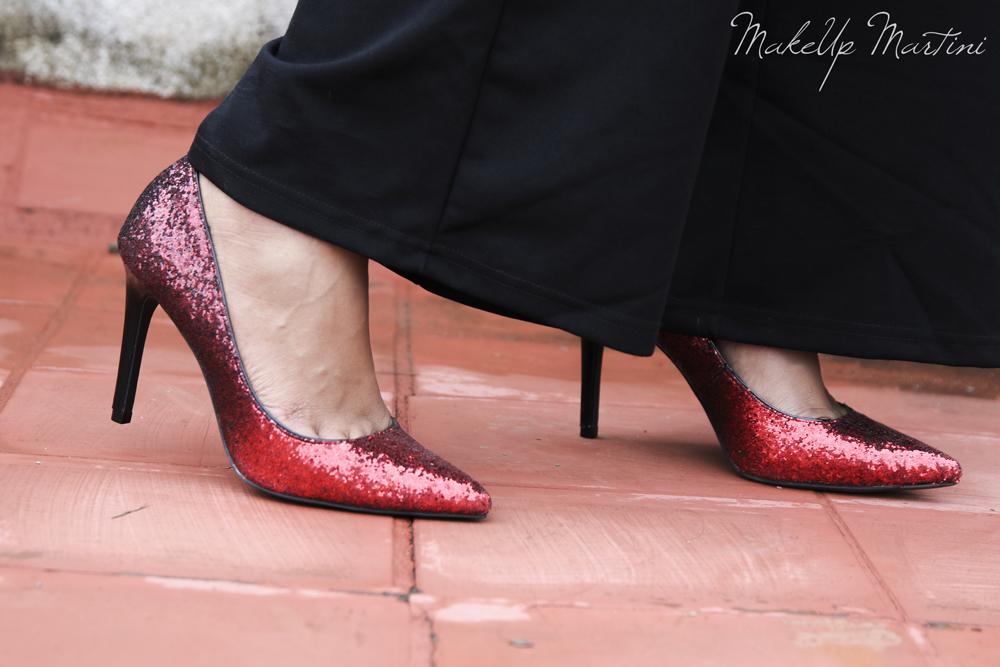Styling Glittery Red Stilettos