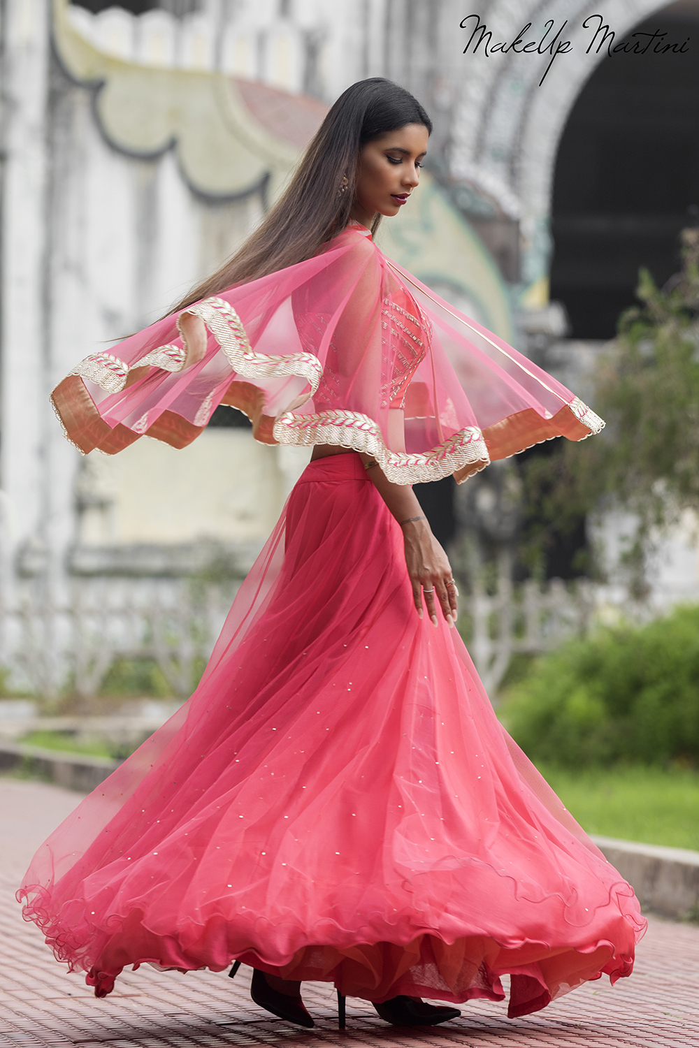 How To Style Pink Lehenga With Cape Jacket
