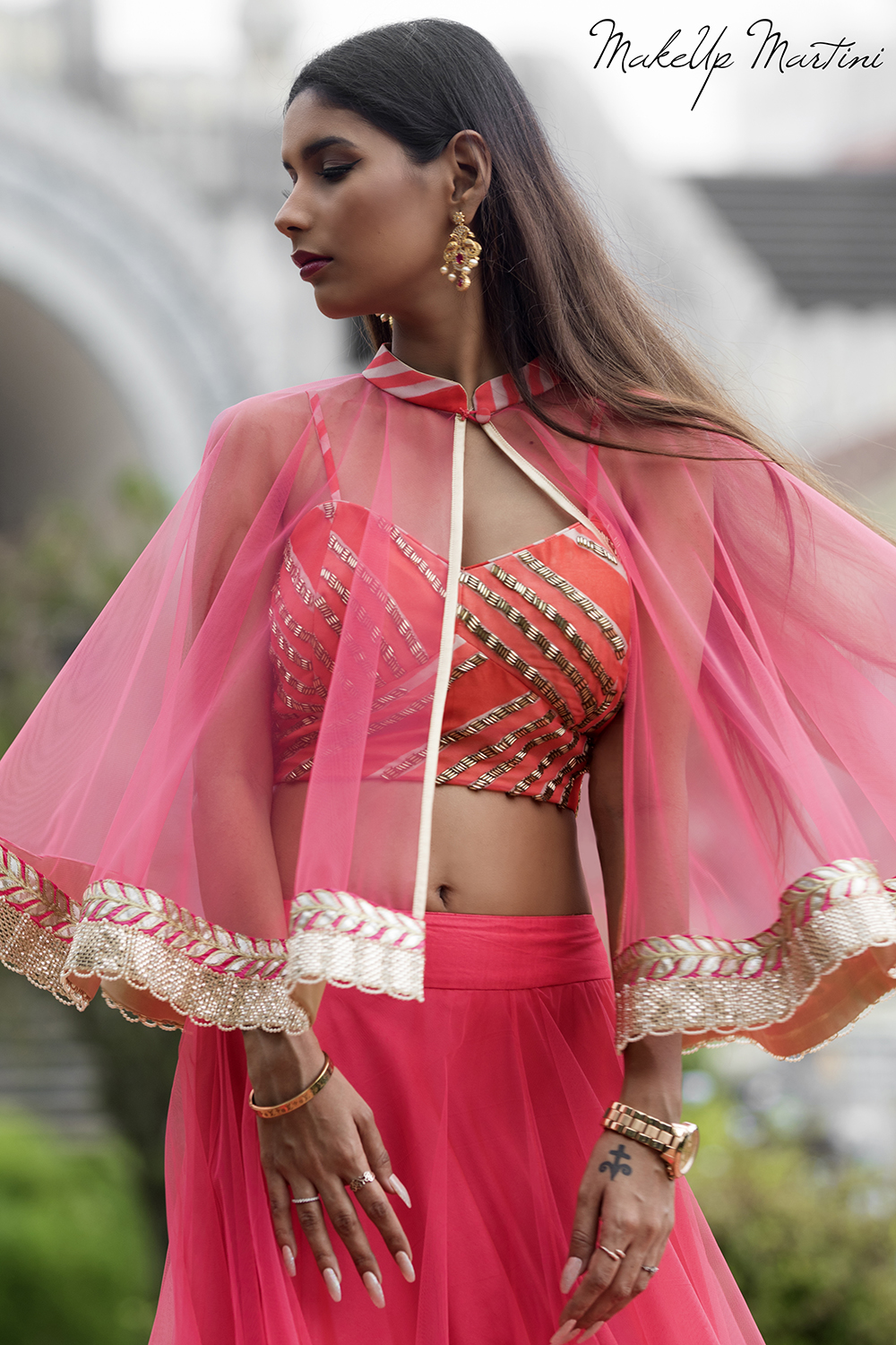 How To Style Pink Lehenga With Cape Top
