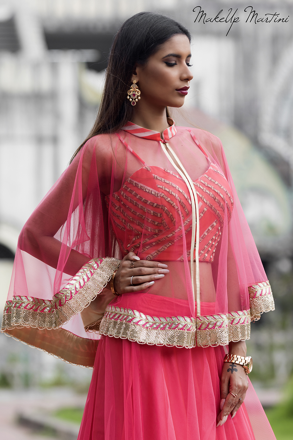 How To Style Pink Lehenga With Sheer Cape Jacket
