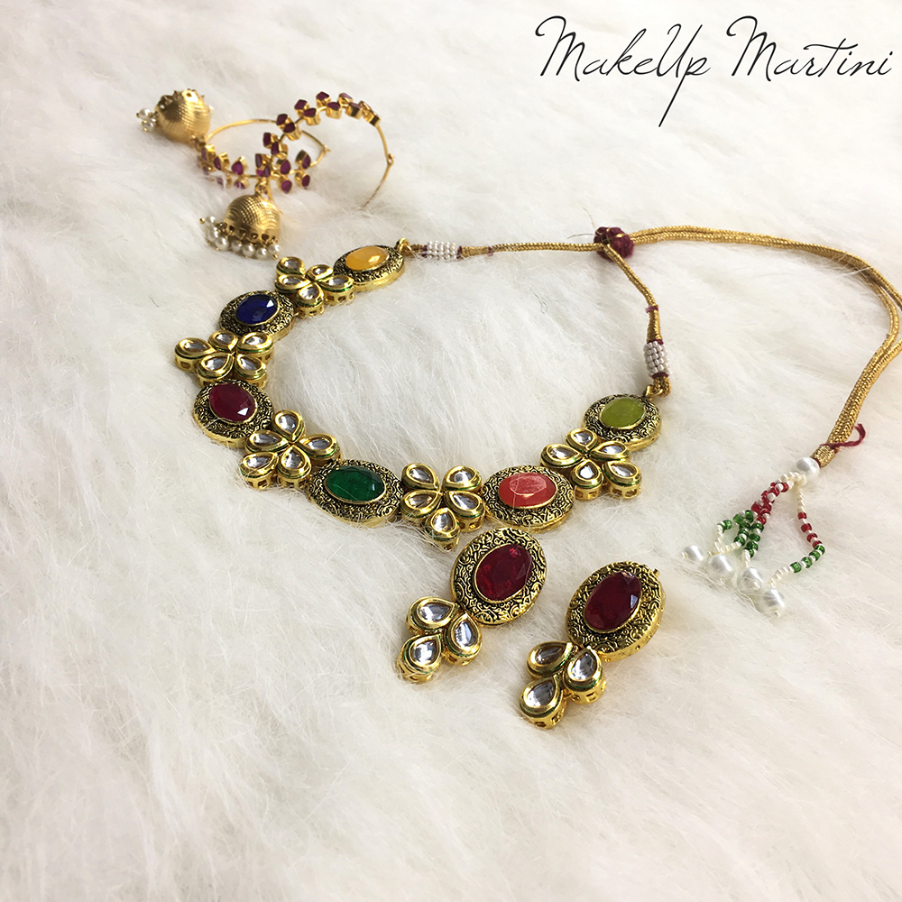 Multicolor Kundan & Stone Jewellery Set