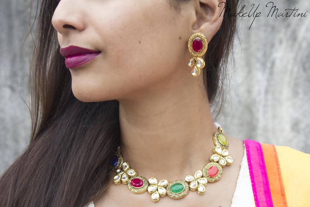 Multicolor Kundan & Stone Jewellery Set