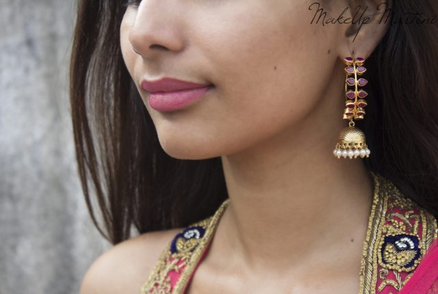 Gold Plated Pink Leaf Jhumka Earrings