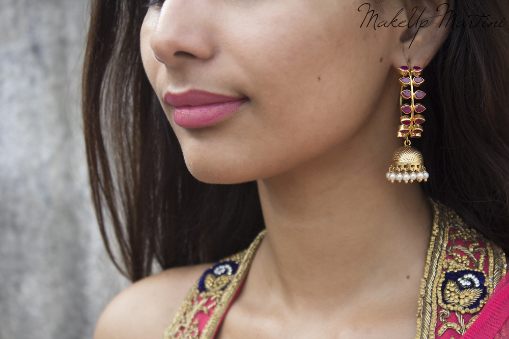 Gold Plated Pink Leaf Jhumka Earrings