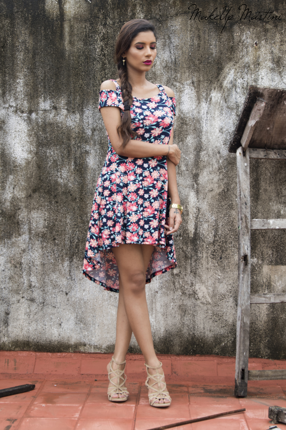 Navy Blue Floral Dress for Date Night