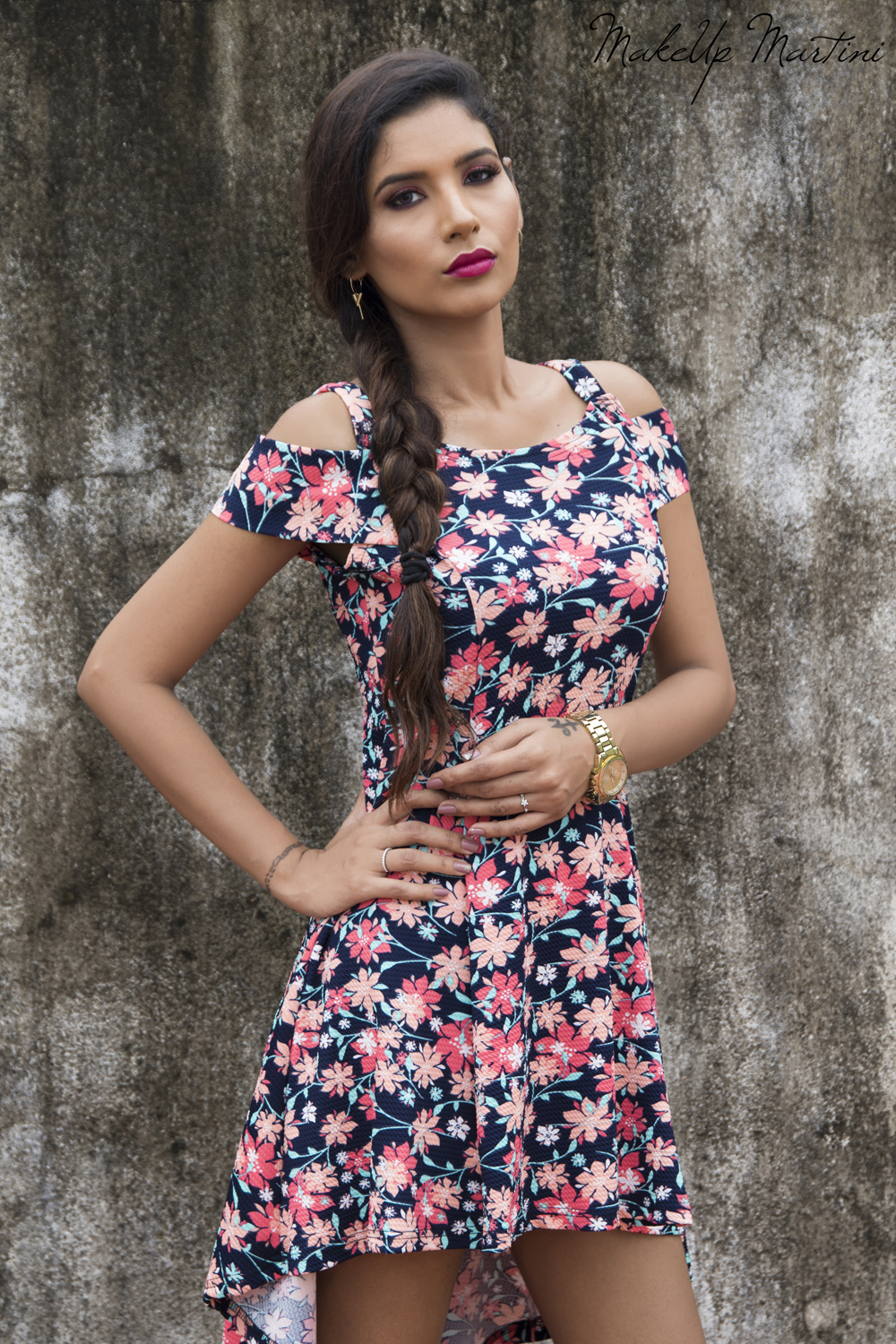 Navy Blue Floral Dress for Valentines Day