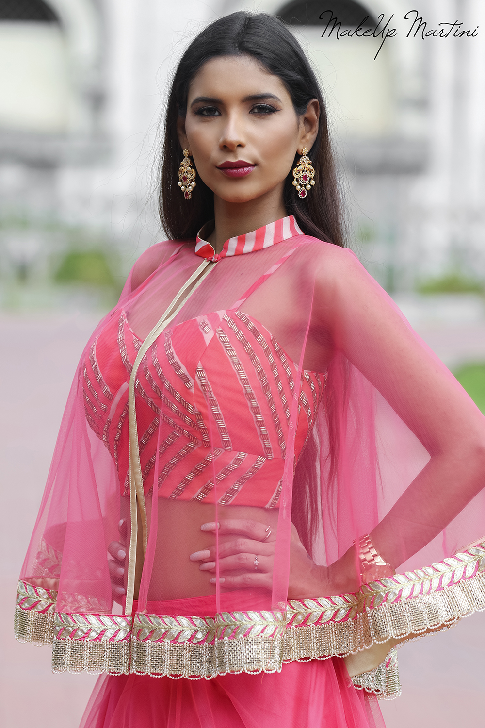 Sheer Cape Jacket With Pink Lehenga