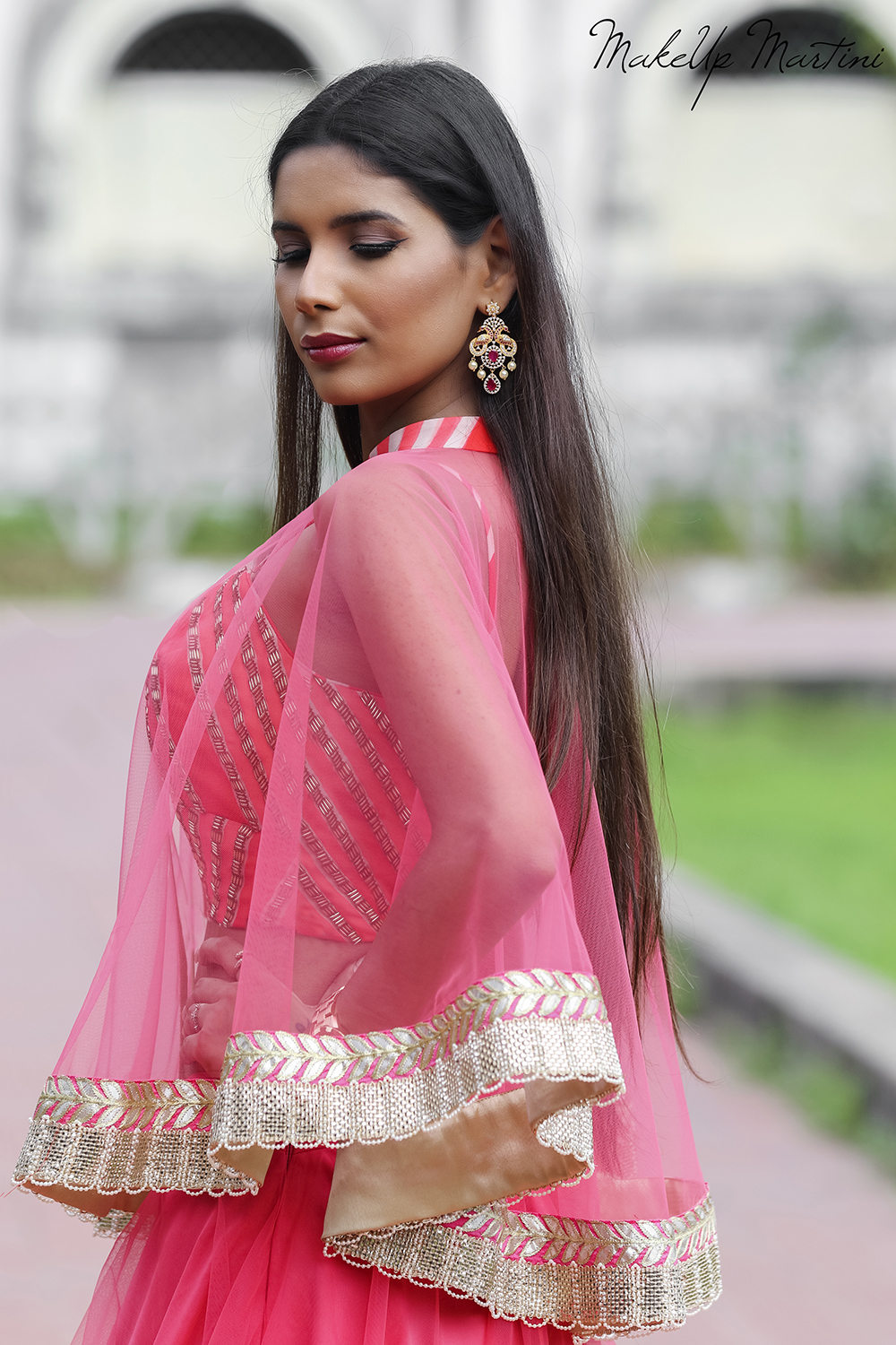 Style Pink Lehenga With Cape Jacket