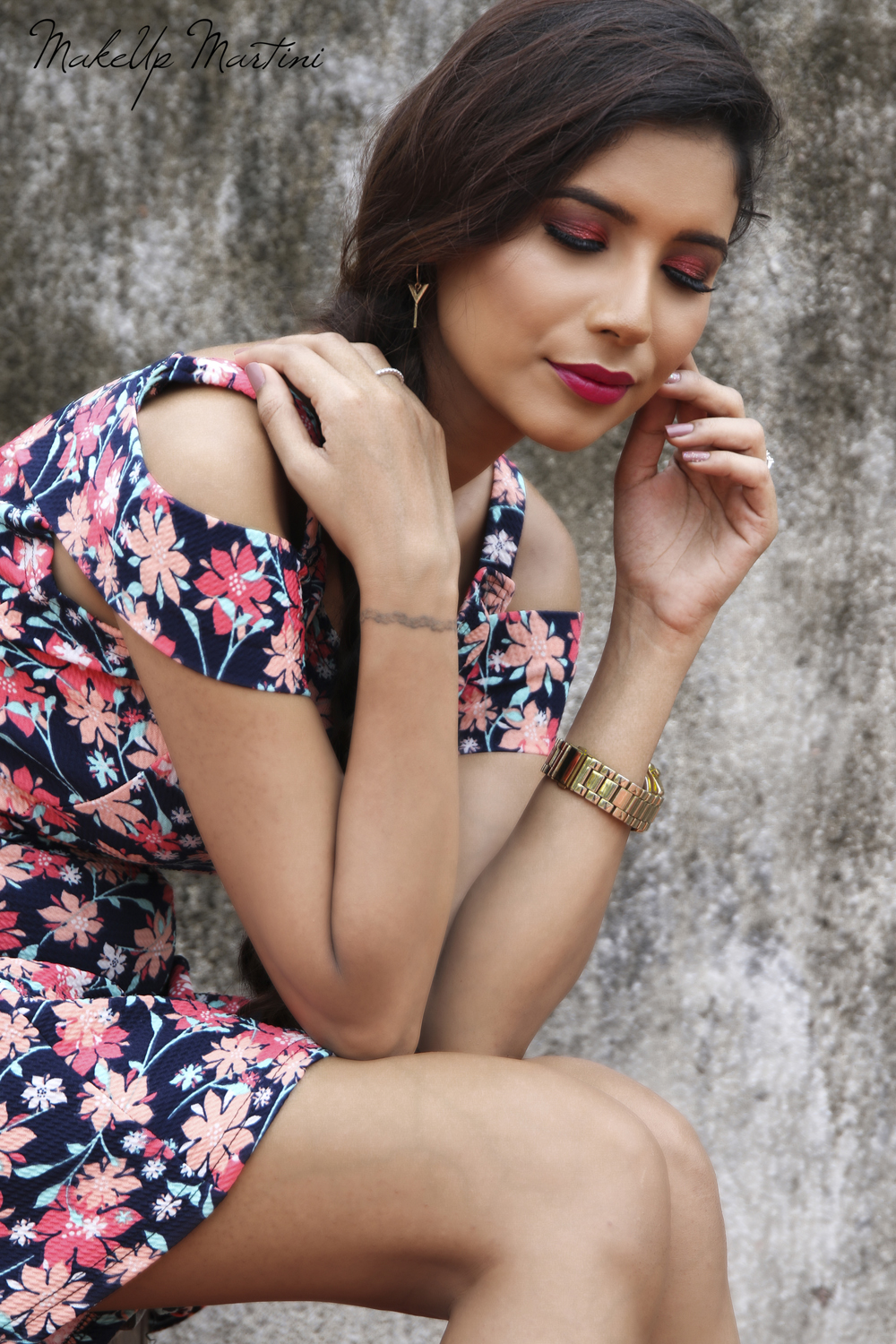 Styling Navy Blue Floral Dress for Valentines Day