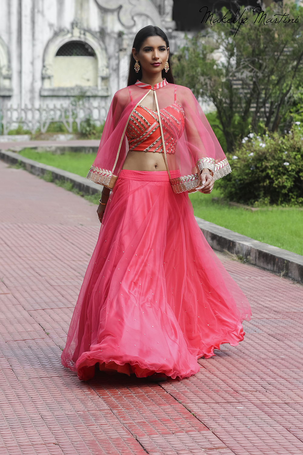 Styling Pink Lehenga With Cape Top