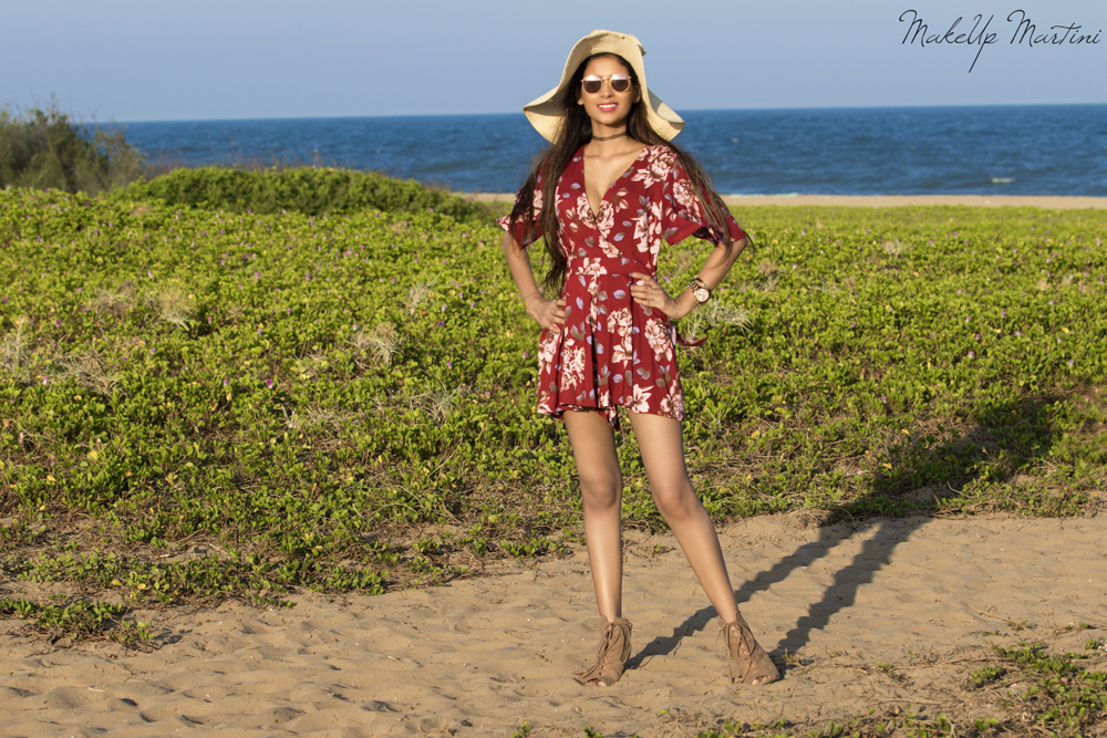 Beachy Vibes With Floral Maroon Playsuit