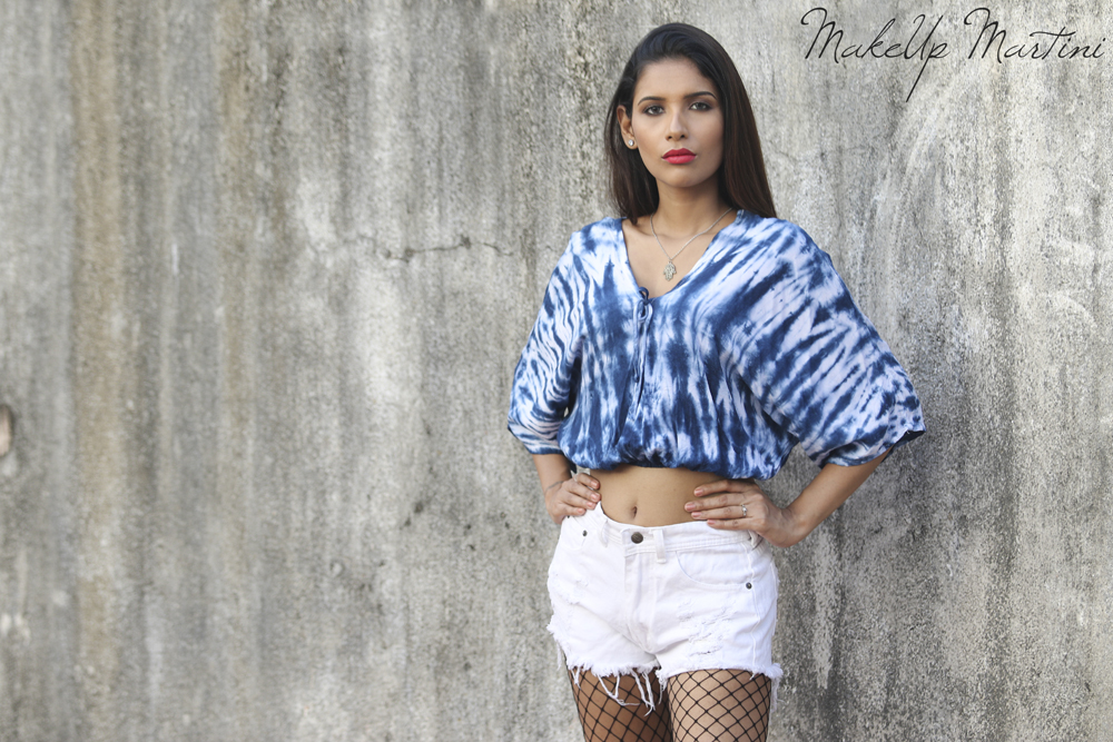 Blue Tie Dye Top & White Distressed Shorts