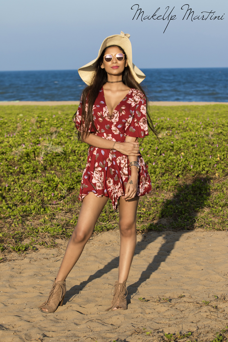 Slay This Summer With Floral Maroon Playsuit