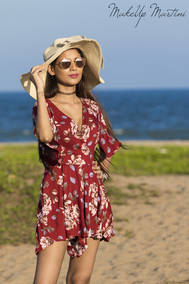 Styling Floral Maroon Playsuit