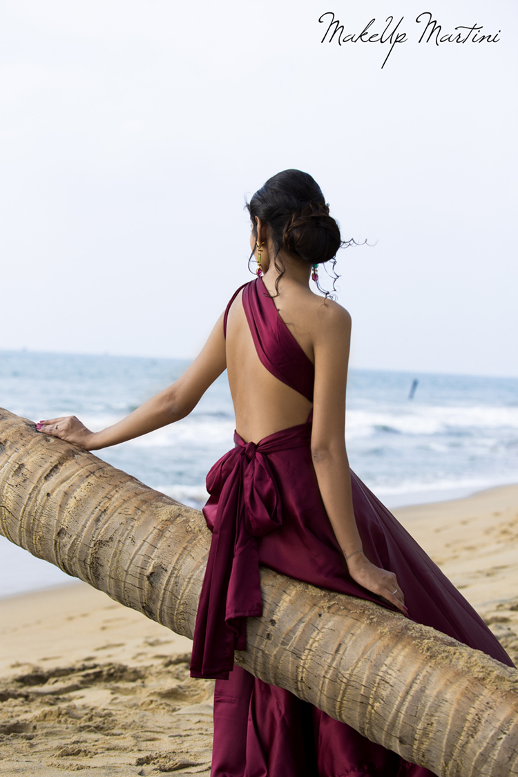 Burgundy Backless One Shoulder Maxi Dress