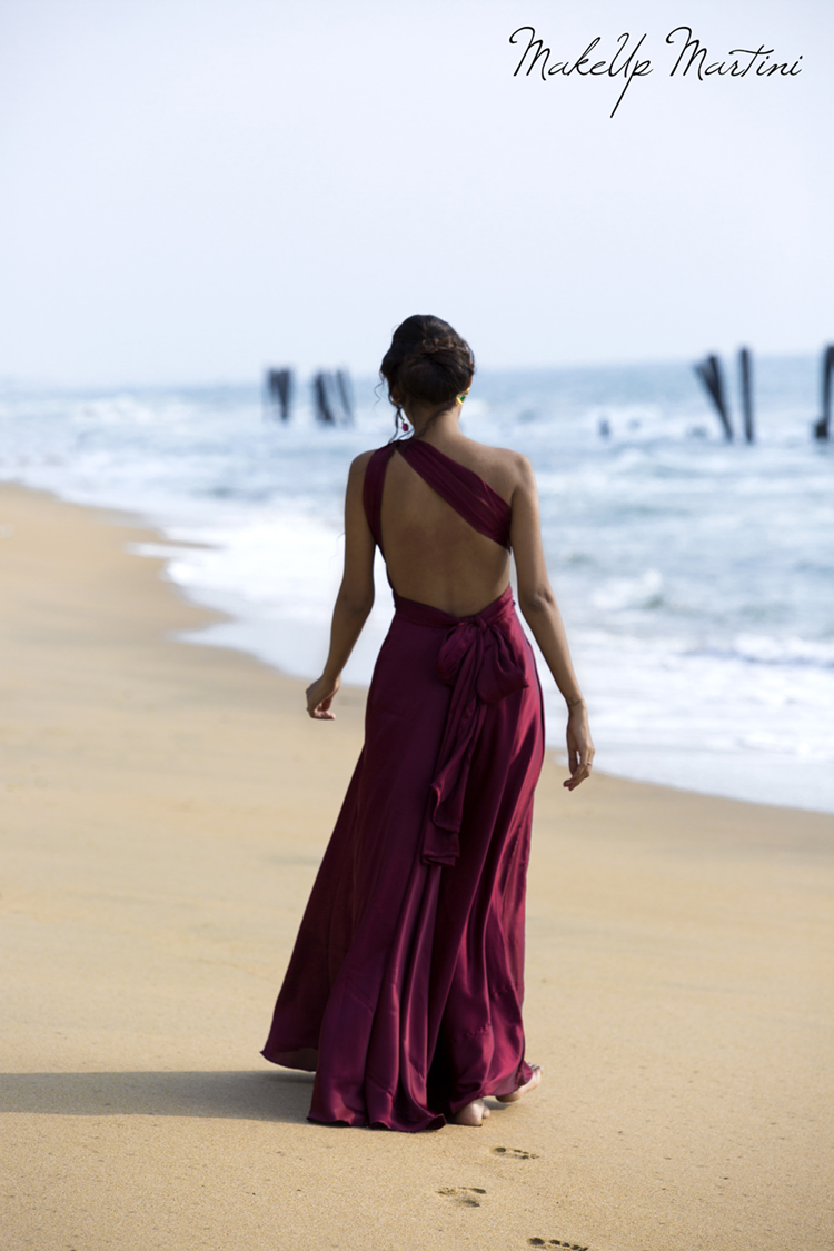 Burgundy Backless One Shoulder Maxi