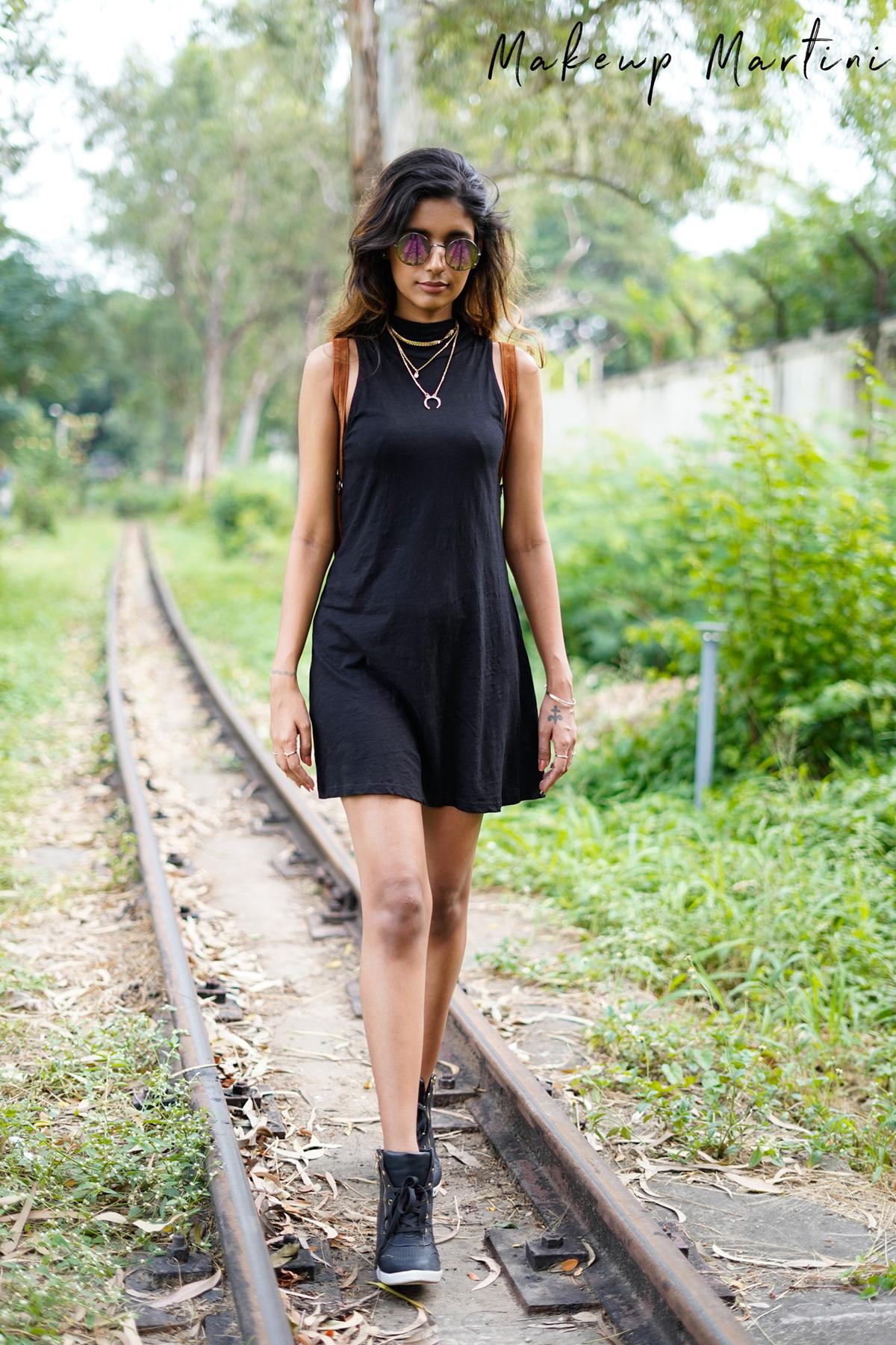 Black Mock Neck T-Shirt Dress