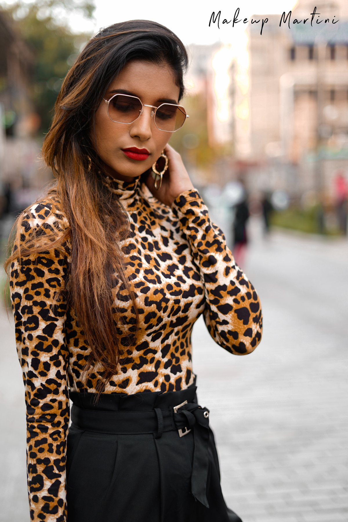 Leopard Printed Mock Neck Top & Black Pleated Pants