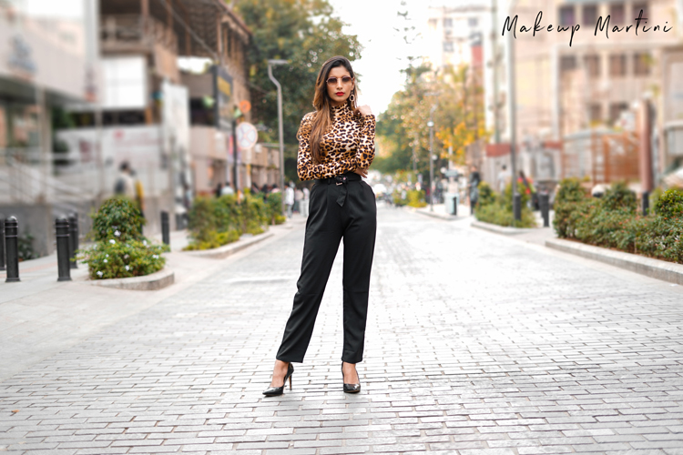Leopard Print Top & Black Pleated Pants