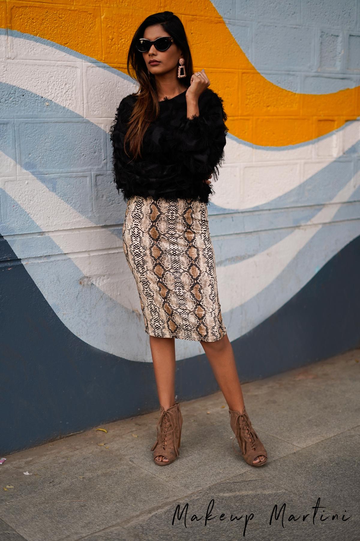 Black Fringe Top & Snake Print Skirt
