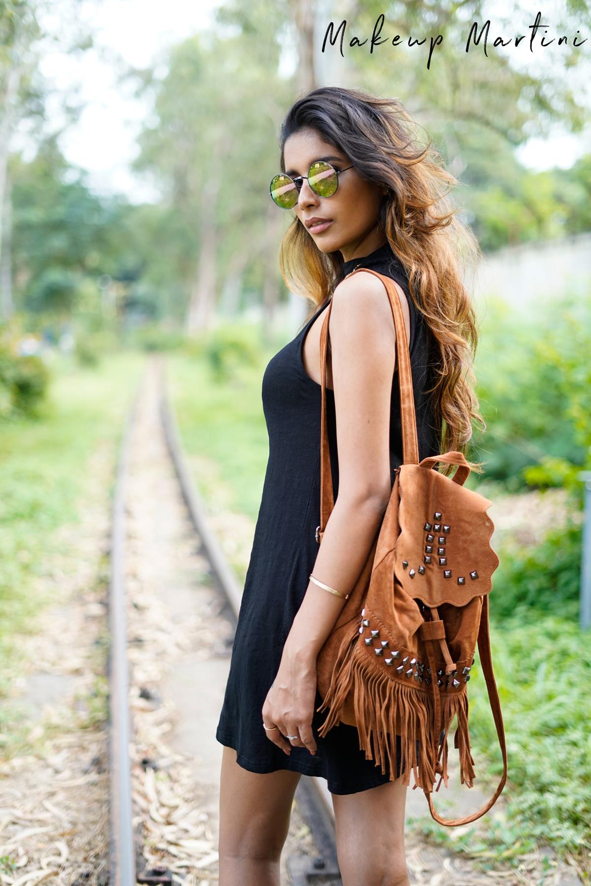 Tan Velvet Backpack