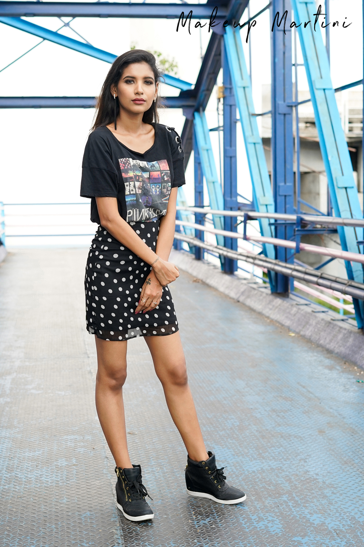 Black Polka Dots Skirt Graphic Tee