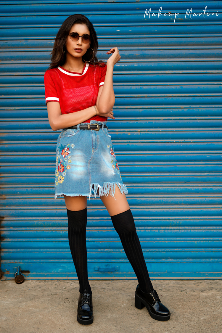 Concert Style- Oversized Mini Denim Skirt & Platform Oxfords Shoes