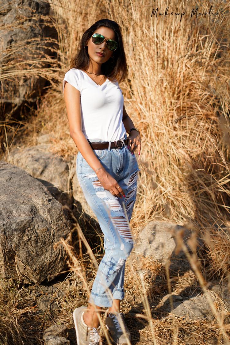 Styling White Tee & Blue Boyfriend Jeans