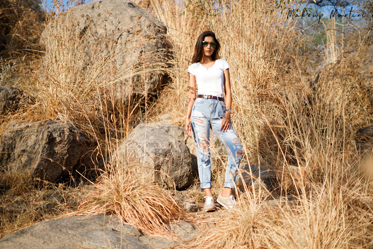 Styling White Tee & Blue Distressed Boyfriend Jeans