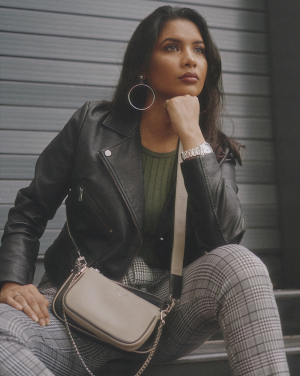 Casual Jacket and Houndstooth Pants Outfit