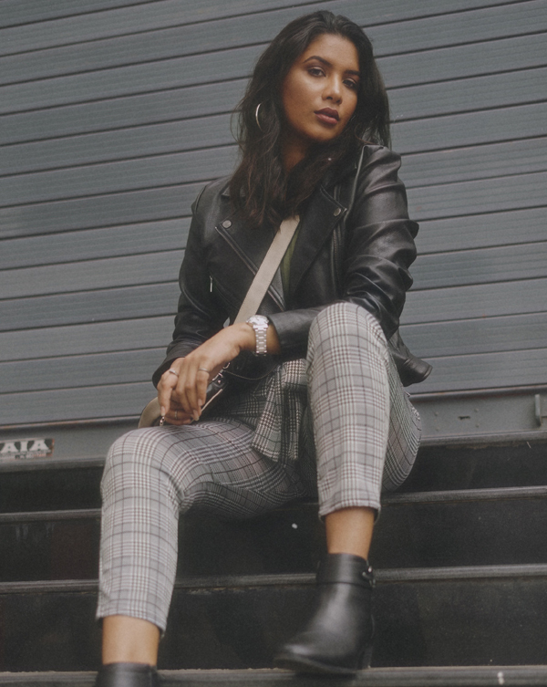How to style PU Jacket and Houndstooth Pants