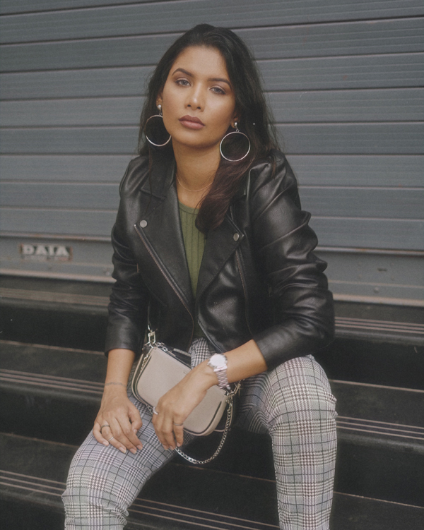 Jacket and Houndstooth Pants Outfit
