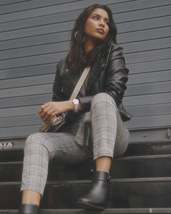 PU Jacket and Houndstooth Pants OOTD